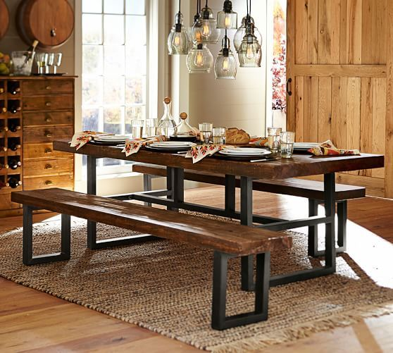 Griffin Reclaimed Wood Dining Table & Grayson Chair Set | Pottery ...