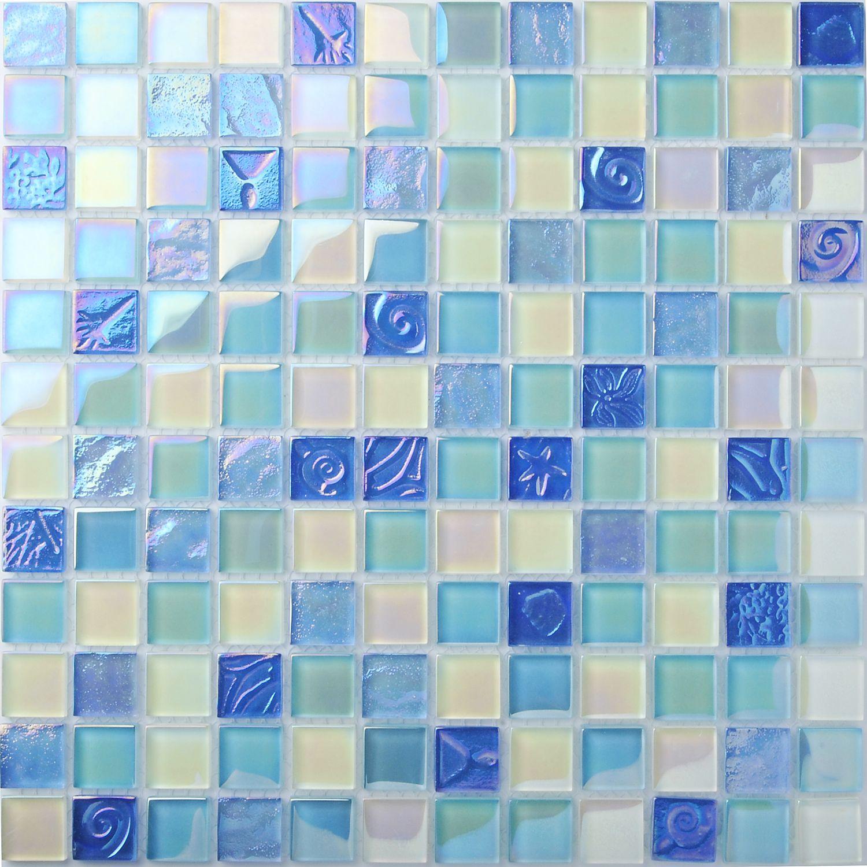 TST Crystal Glass Tiles Sea Glass Mosaic Tile Iridescent Lovely ...