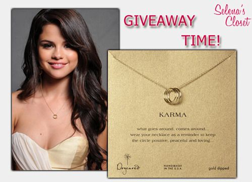 Guess what you guys, ITS OUR ONE YEAR ANNIVERSARY!!!! We got a brand new site and some brand new surprises! You all have been so good to us this past year and to show you how much we appreciate it, we decided to give away some of our most popular finds!   ONE lucky winner of this giveaway will receive this Dogeared Triple Karma Ring Necklace (Gold Dipped). This necklace was Selena's favorite accessory in the summer of 2011 and you can see it in almost every picture she took during that time