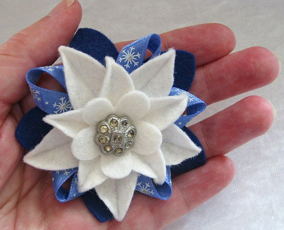 Winter Holiday Felt Flower Pin White and Royal Blue with Vintage Rhinestone Button and Snowflake Ribbon by dorothydesigns, $20.00