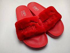486c947f3ca Rihanna x Puma Fenty Fur Leadcat Slides Women Slipper Red