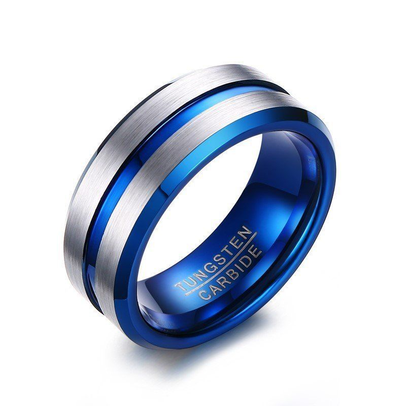 8Mm Mens Womens Tungsten Band Ring Wedding Inlay Carbon Fiber Size 7-12 Fashion