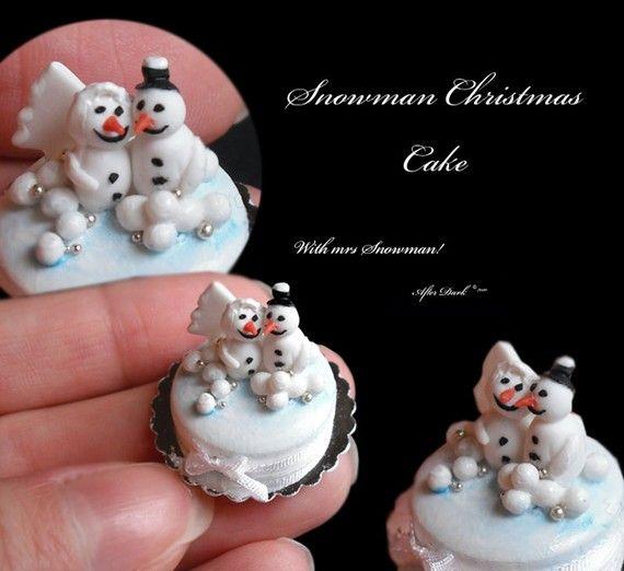 Christmas Snowman Cake Artisan fully Handmade Miniature