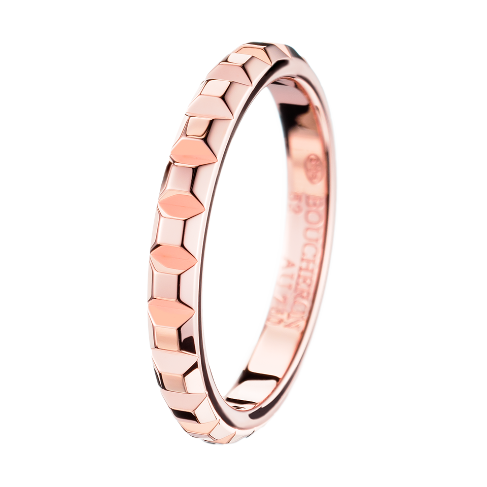 pink wedding band Pointe de Diamant Pink Gold Wedding Band a Maison Boucheron Bridal creation