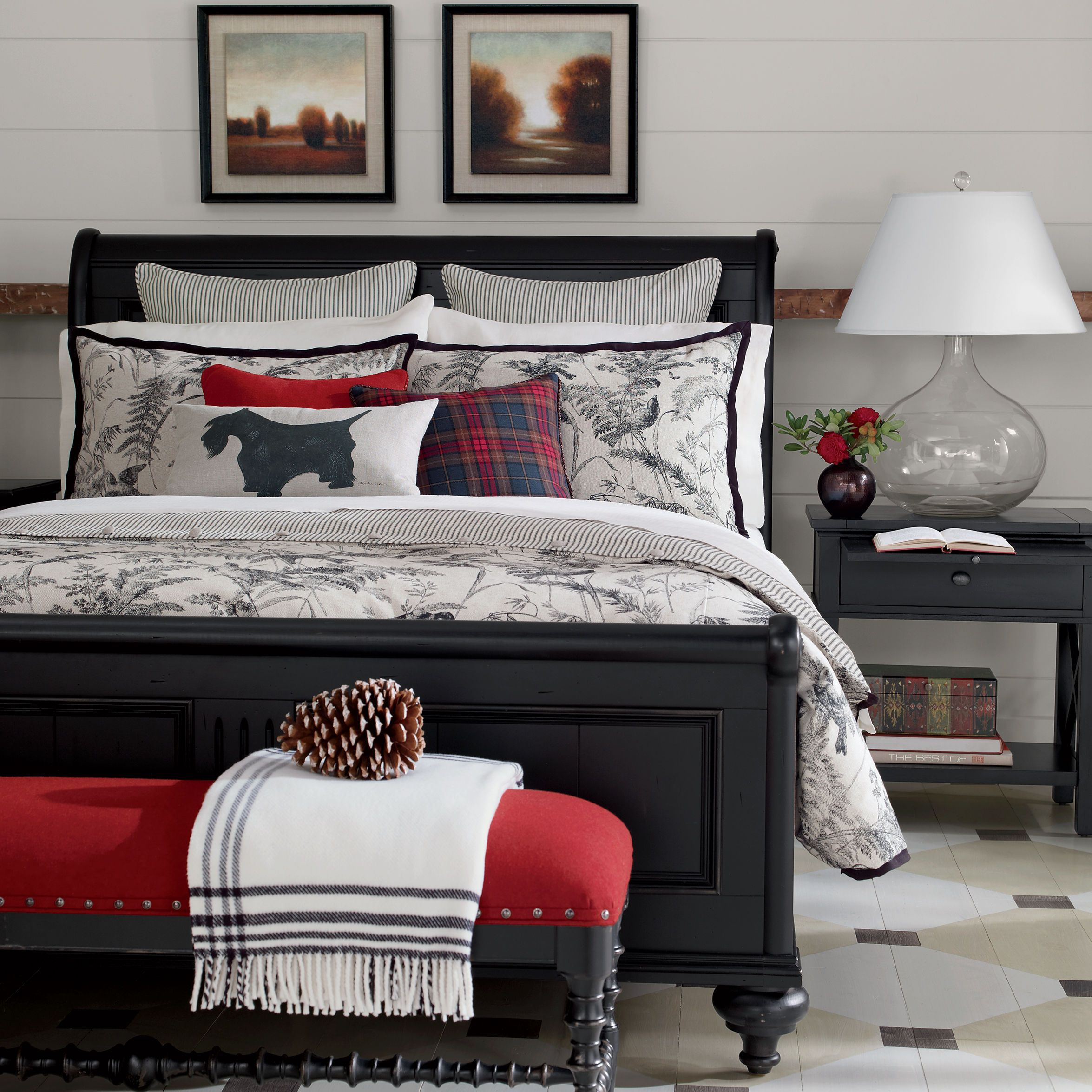Vintage Country Bedroom. Black And White Ethan