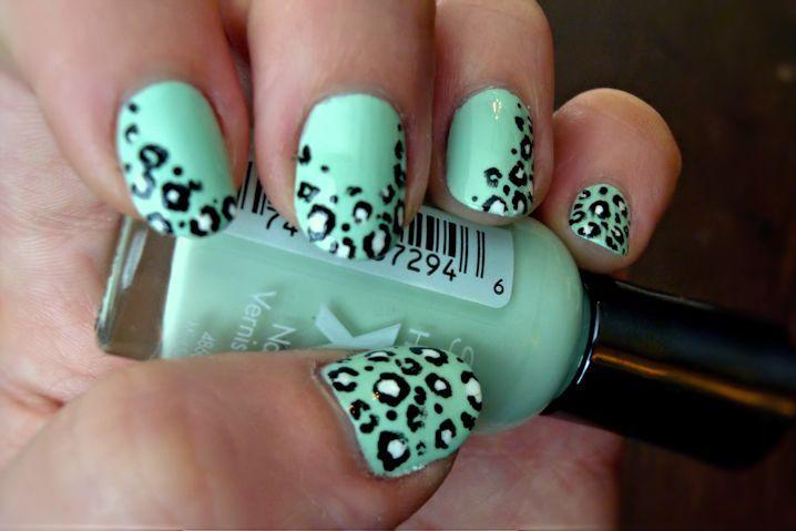 Mint Green Black And White Leopard Nail Art Leopard Nail Art Leopard Nails Animal Print Nails
