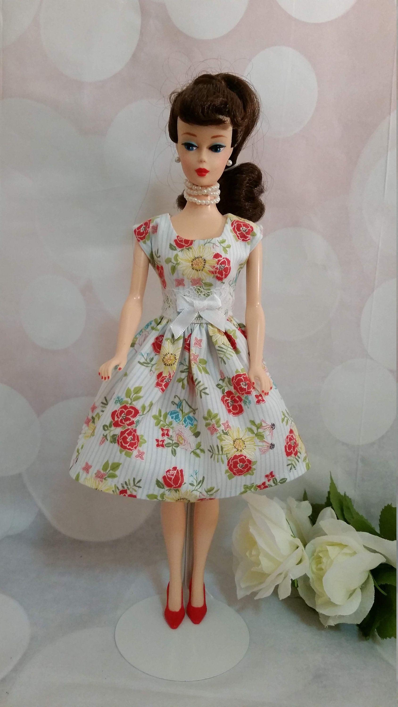 "11 1/2"" Dress for Barbie, flowers on white, summery"