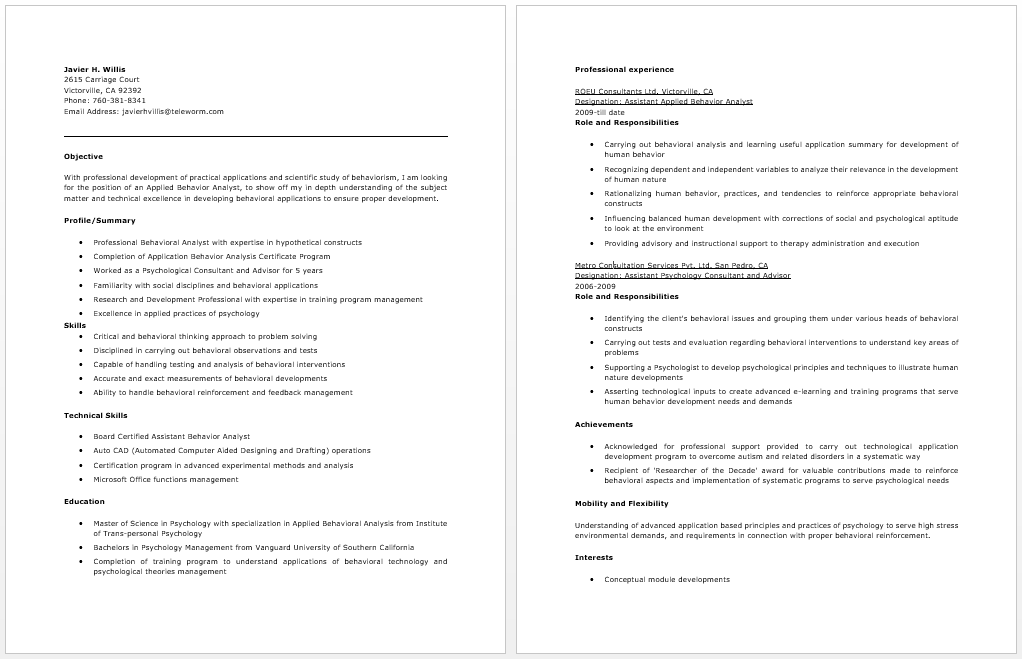 applied behavior analyst resume example