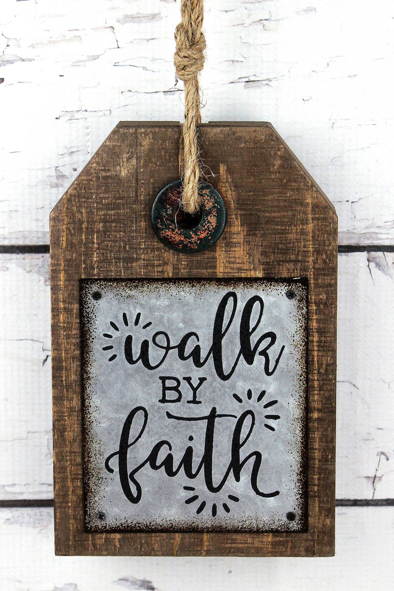 8 x 5 walk by faith wood and metal tag sign