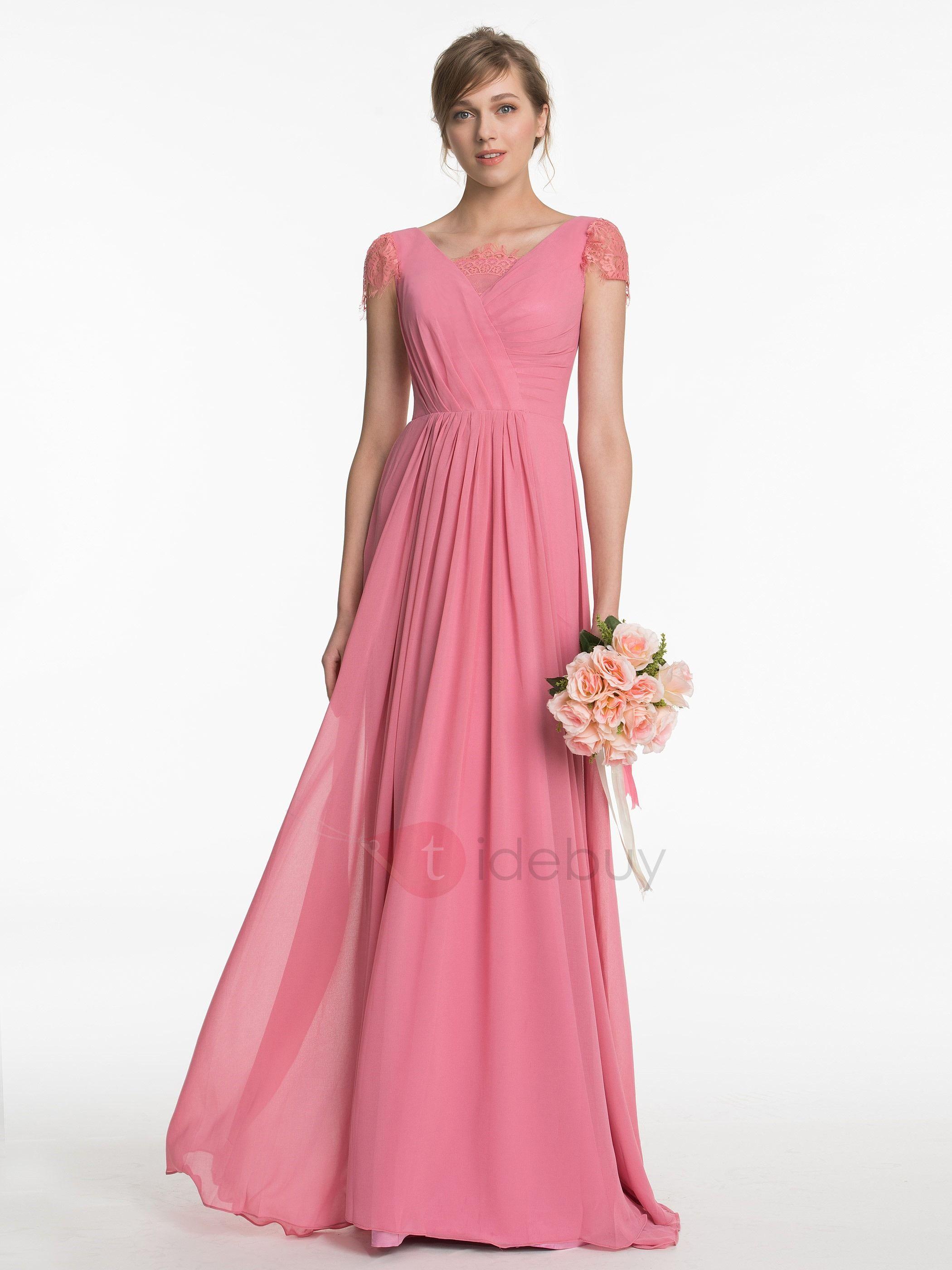Beautiful Cap Sleeves Long Bridesmaid Dress