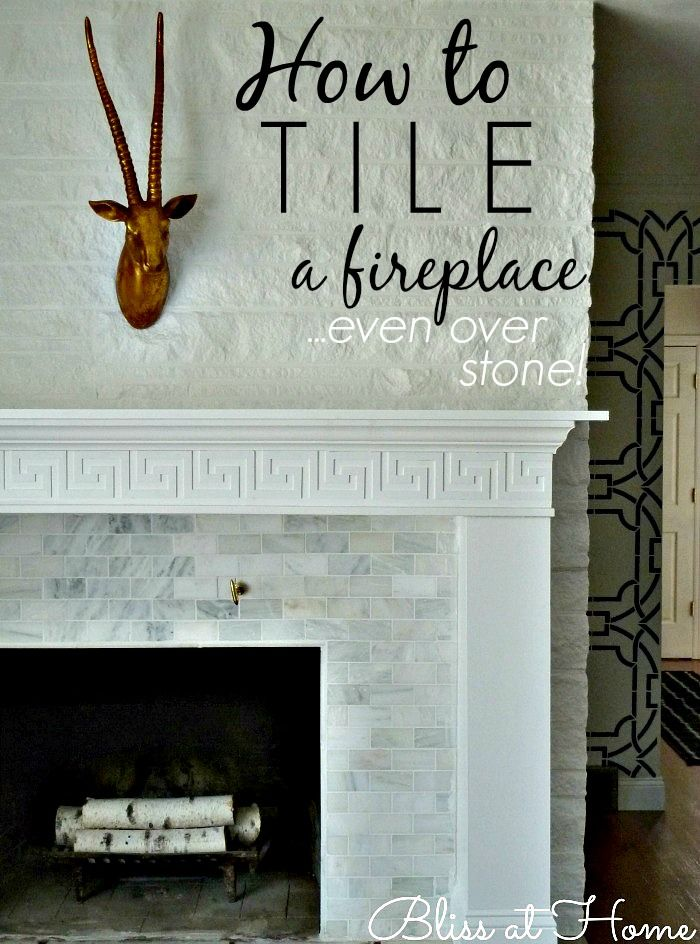 how to tile a fireplace even over uneven stone or brick via bliss at home ideas for our home. Black Bedroom Furniture Sets. Home Design Ideas