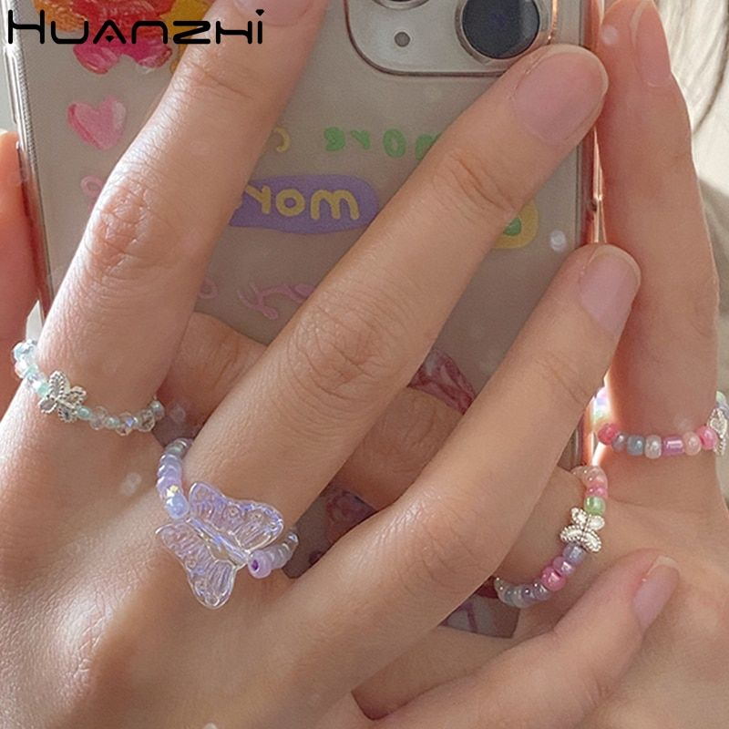 US $1.45 26% OFF|HUANZHI 2020 New Lovely Summer Korean Colorful Transparent Beads Butterfly Flowers Rings for Women Party Vacation Jewelry Gifts|Rings|   – AliExpress