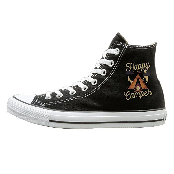 6c2603c08f4a Shenigon Happy Camper Canvas Shoes High Top Casual Black Sneakers Unisex  Style 38