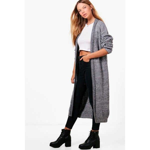 Boohoo Molly Marl Long Edge to Edge Maxi Cardigan ($40) ❤ liked ...