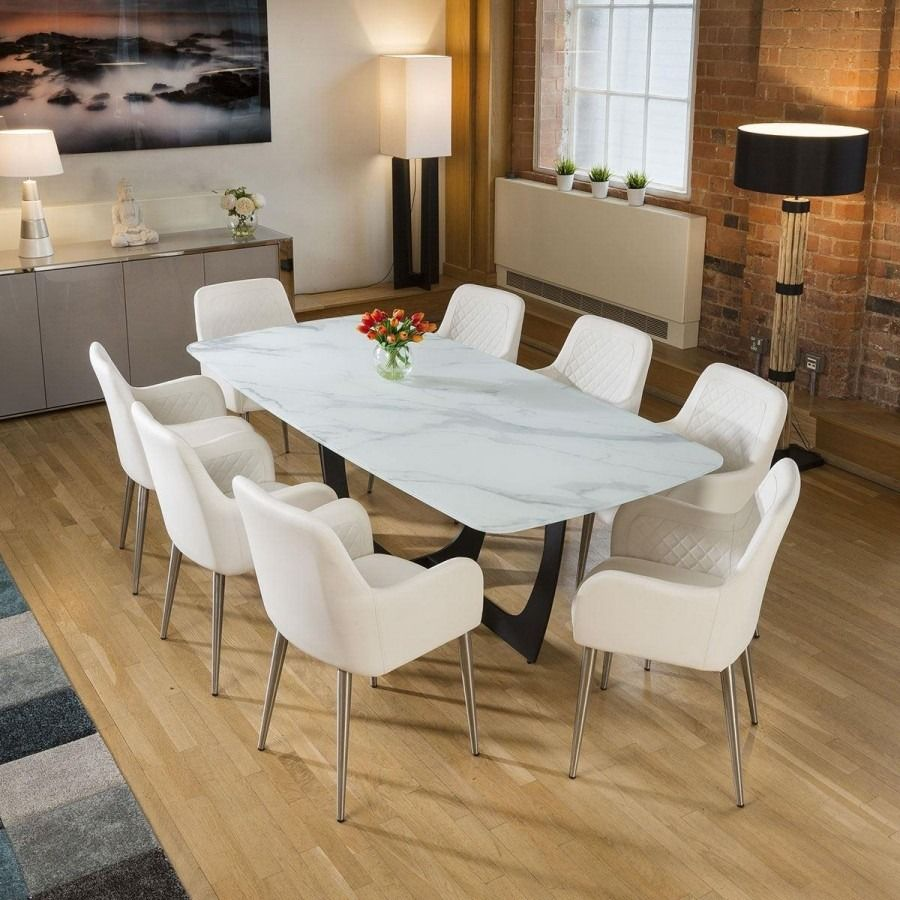 Modern White Glass Marble Effect Dining Table 8 White Carver Chairs In 2020 Carver Chair Dining Table Dining Table Decor Modern