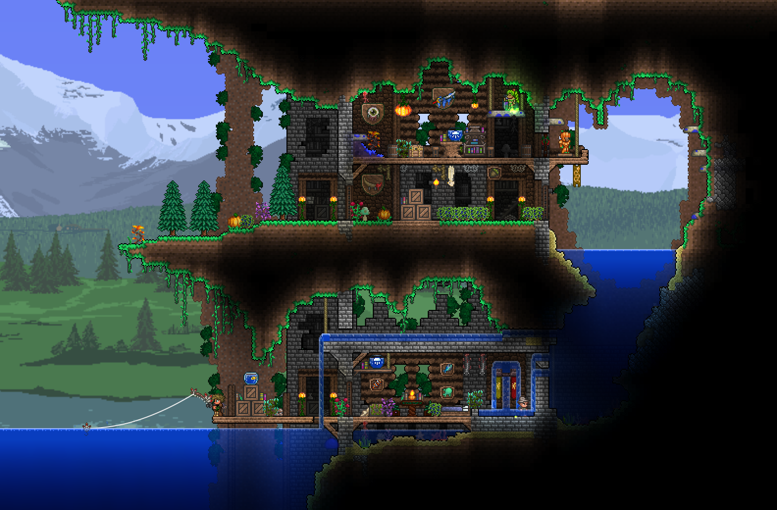 Hidden mountain tower by partiedeux terraria for Best house designs terraria
