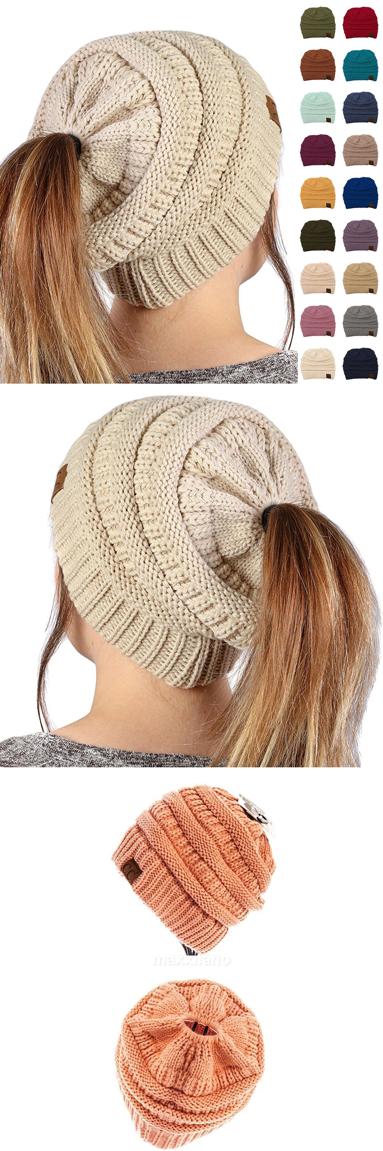 47e1989a3ea Hats 45230  Womens Cc Beanie Tail Messy High Bun Ponytail Hat Knit Winter  Cap Hole Slouchy -  BUY IT NOW ONLY   13.98 on  eBay  womens  beanie  messy  ...