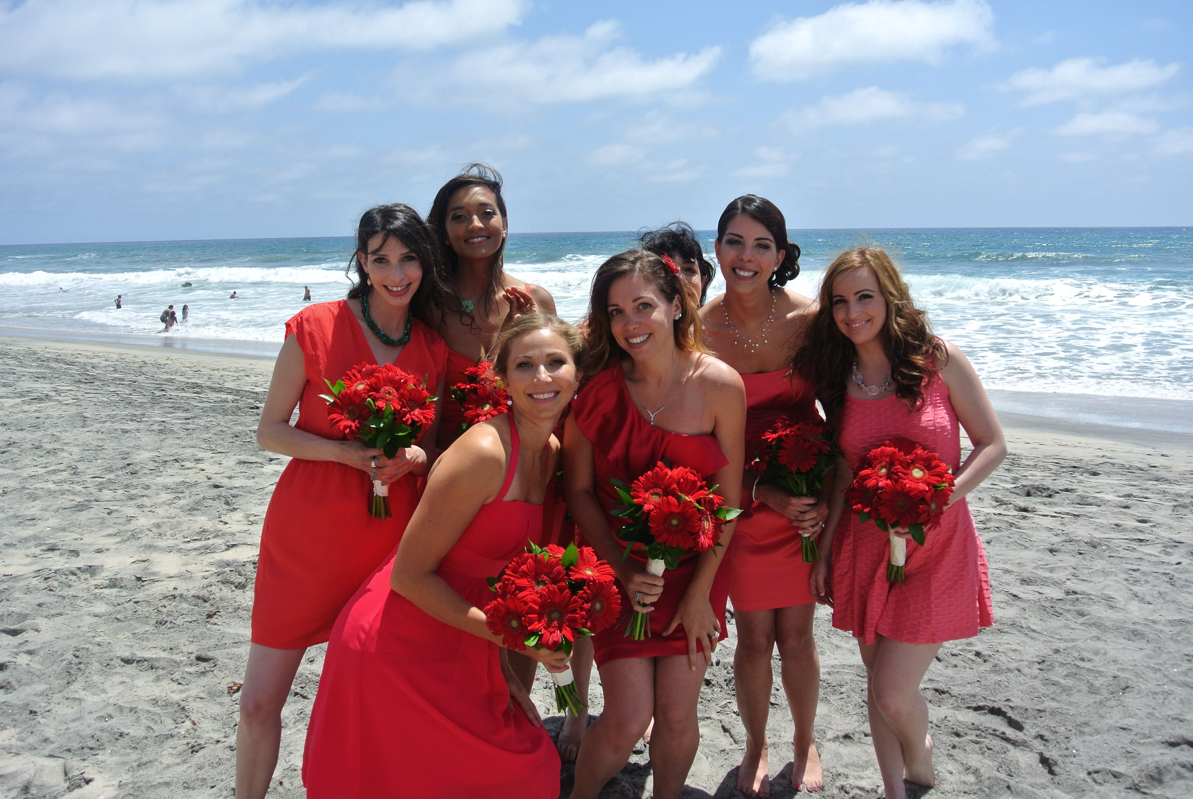 San Diego Beach Wedding, Bridesmaids dresses beachfront wedding San Diego 760 722-1866