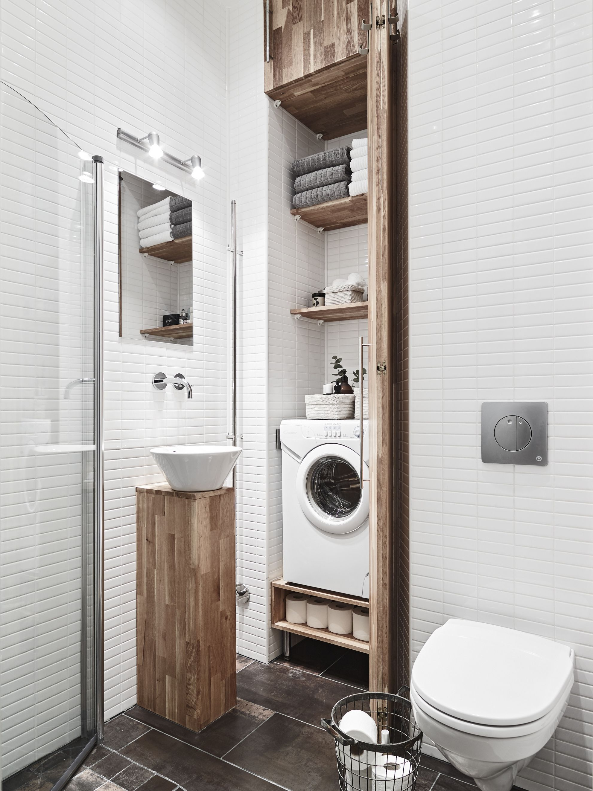 Laundry room ideas / laundry room in bathroom / how to fit washer in ...