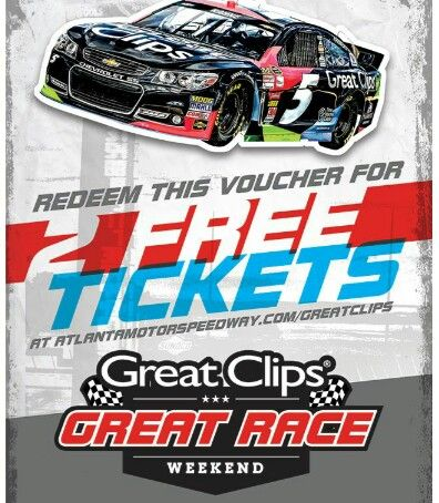 free nascar tickets stop by your local great clips to get your voucher for 2 free tickets to. Black Bedroom Furniture Sets. Home Design Ideas