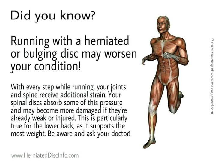 Running is a great exercise if your spine is healthy. However, people with a bulging or herniating disc should consider taking a break from it, even if their injury is not serious. Remember, You only have One Spine, so take Good Care of It! An important reminder from http://www.familychiropractic.com.sg/
