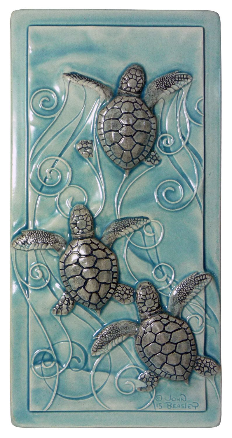 Sea Turtle Bathroom Accessories Home Decor Art Tile Magic In The Water Baby Sea Turtles Home