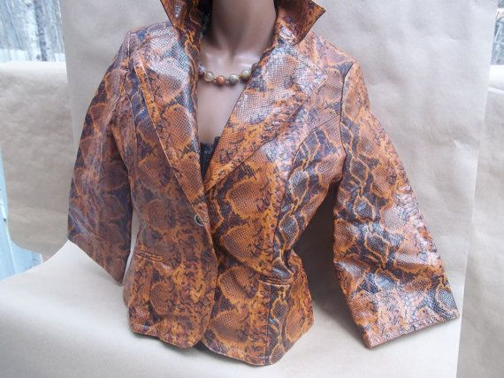 Snakeskin Faux  Leather Jacket in Brown/Black  by nestanaturelover