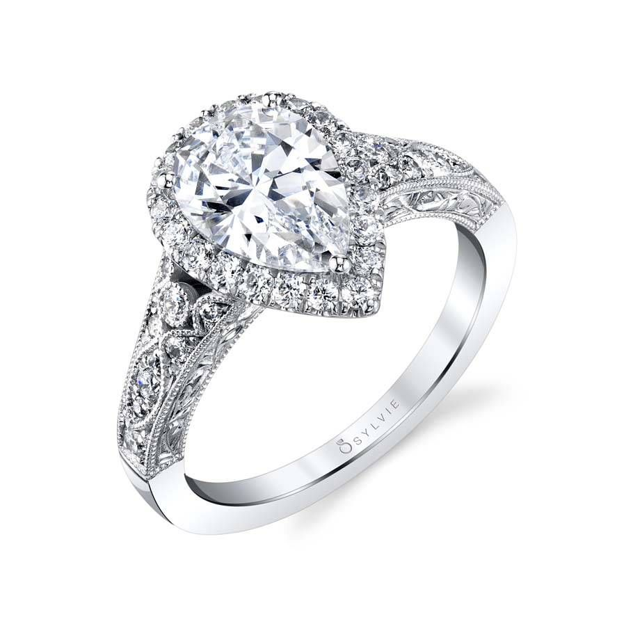 Vintage pear shaped halo engagement ring s mrs crews