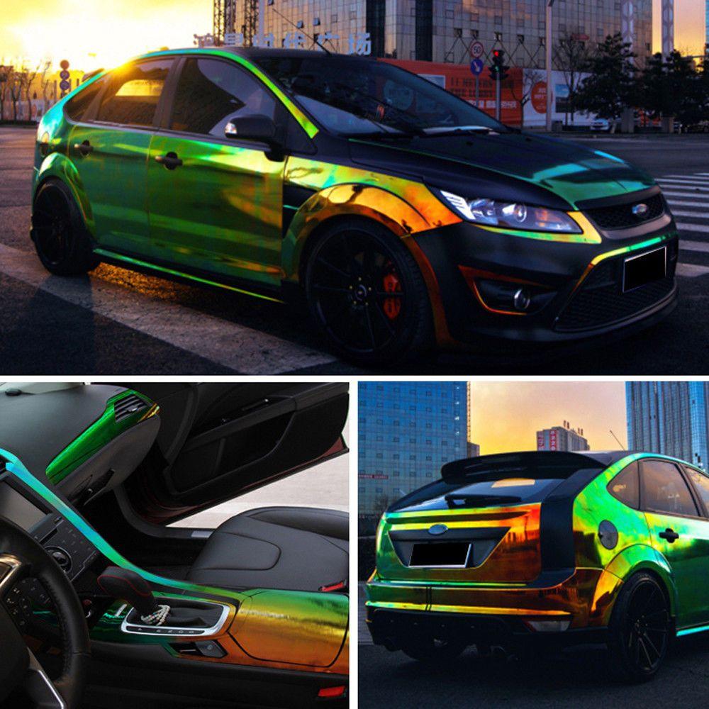 Car Glossy Laser Chrome Holographic Rainbow Vinyl Auto Wrap Film Air//Bubble Free