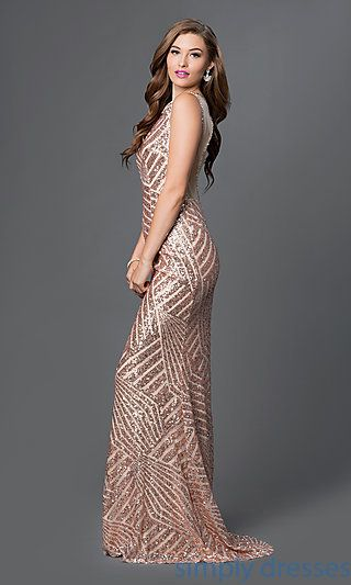 357a68acda Shop sequin-print dresses and long pageant dresses at Simply Dresses. Open- back…