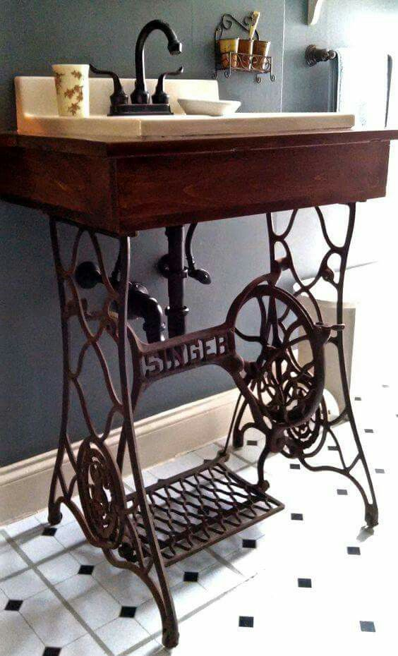 the singer sewing machine transforms into a beautiful sink. Black Bedroom Furniture Sets. Home Design Ideas