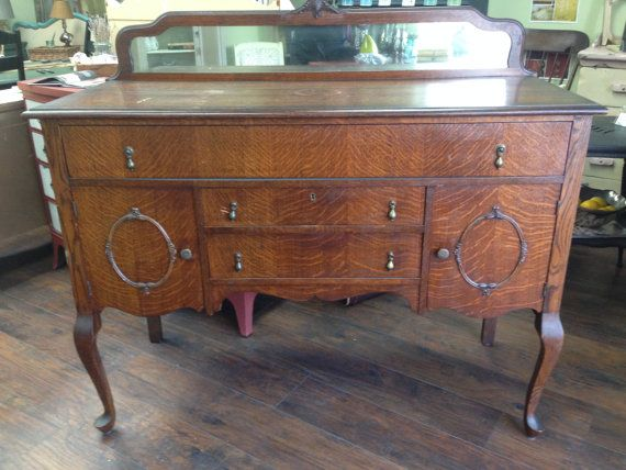 Vintage Buffet Queen Anne Sideboard Tiger Oak Dining Server