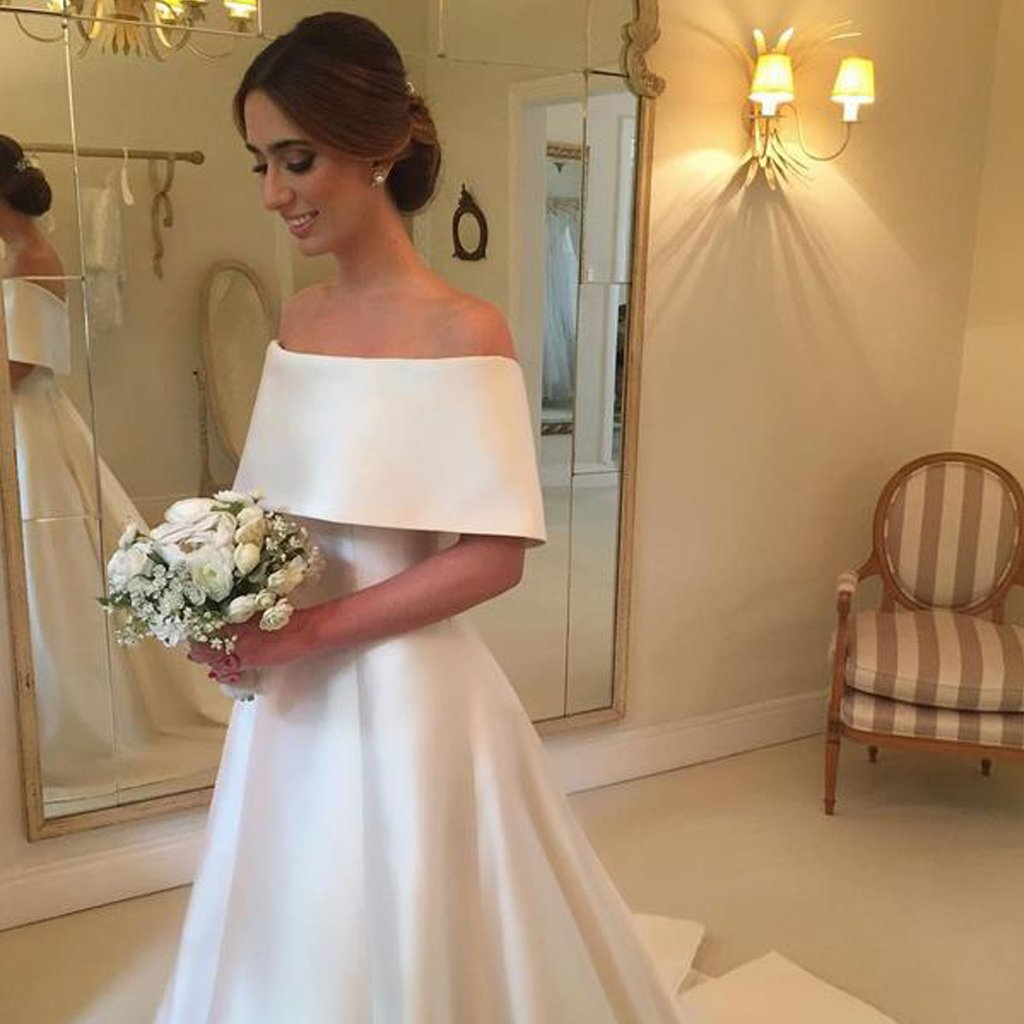 Satin Off Shoulder Wedding Dress, ALine Simple Design