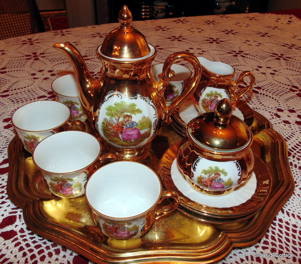 Bavarian Tea Set Matched 22k Gold Layered Signed Fragonardu0027s Courting Couple Hand Crafted/Painted Service & Bavarian Tea Set Matched 22k Gold Layered Signed Fragonardu0027s ...