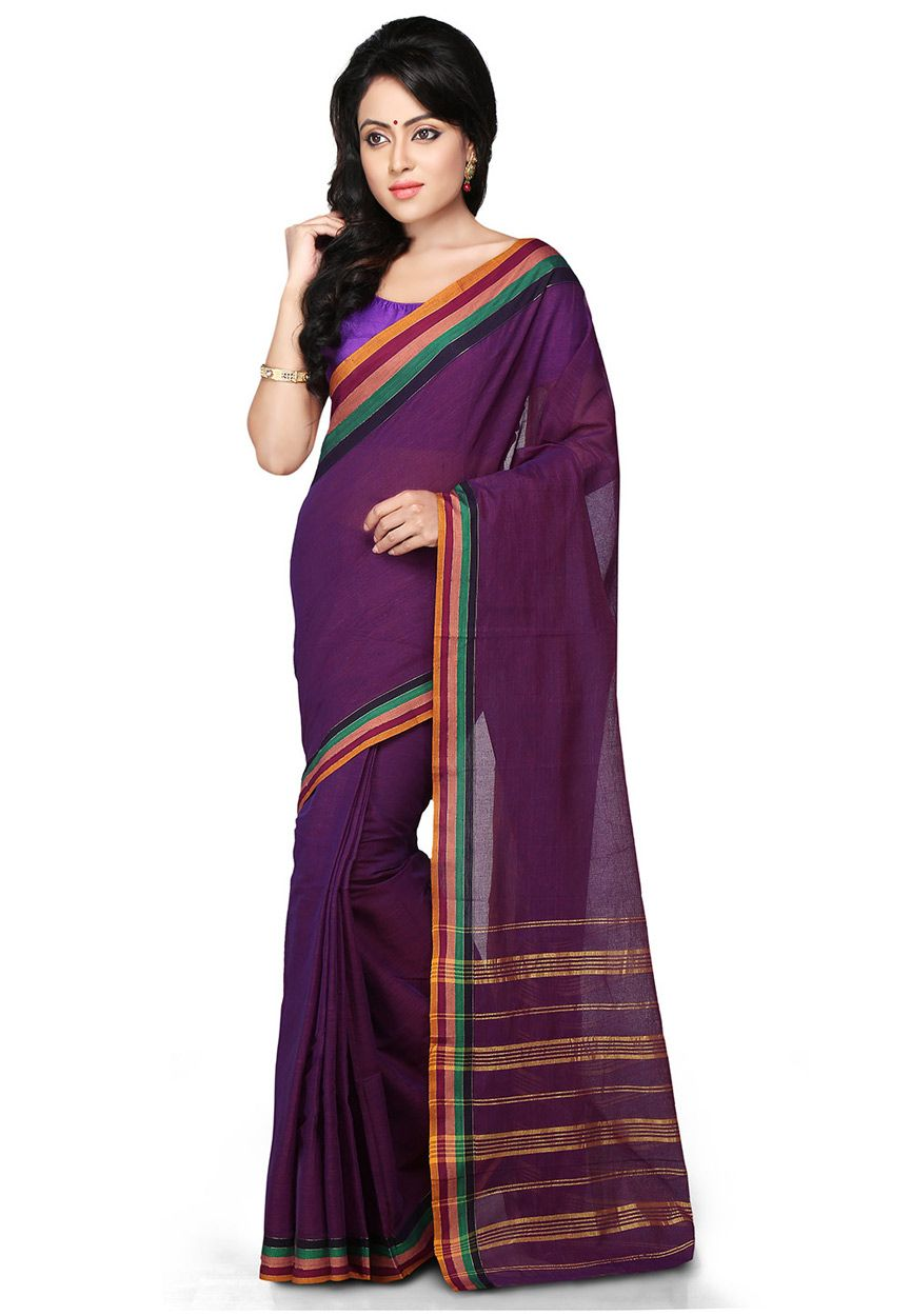 Buy Purple South Cotton Saree with Blouse online, work: Woven, color: Purple, usage: Festival, category: Sarees, fabric: Cotton, price: $30.35, item code: SAR654, gender: women, brand: Utsav