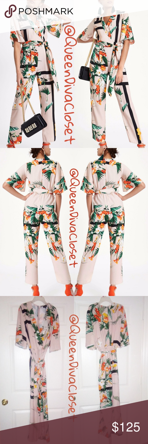 e1aac5ceb7 Kimono asian garden tropical peach wrap jumpsuit This fabulous oriental  style jumpsuit from River Island is