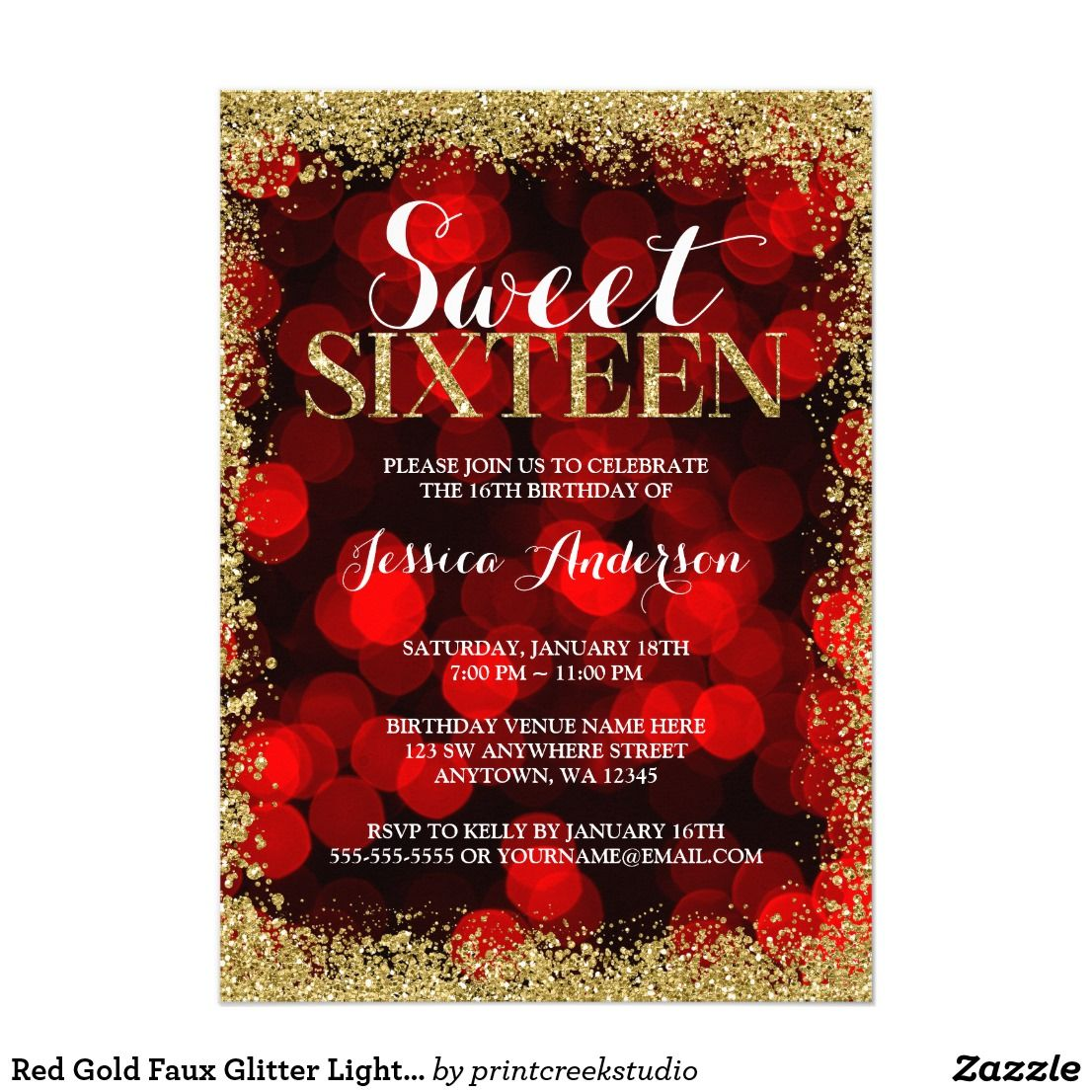 Red Gold Faux Glitter Lights Sweet 16 Birthday Invitation ...