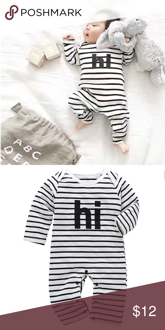 Cute Black and White Striped Long Onesie, 3 mo. Adorable ...
