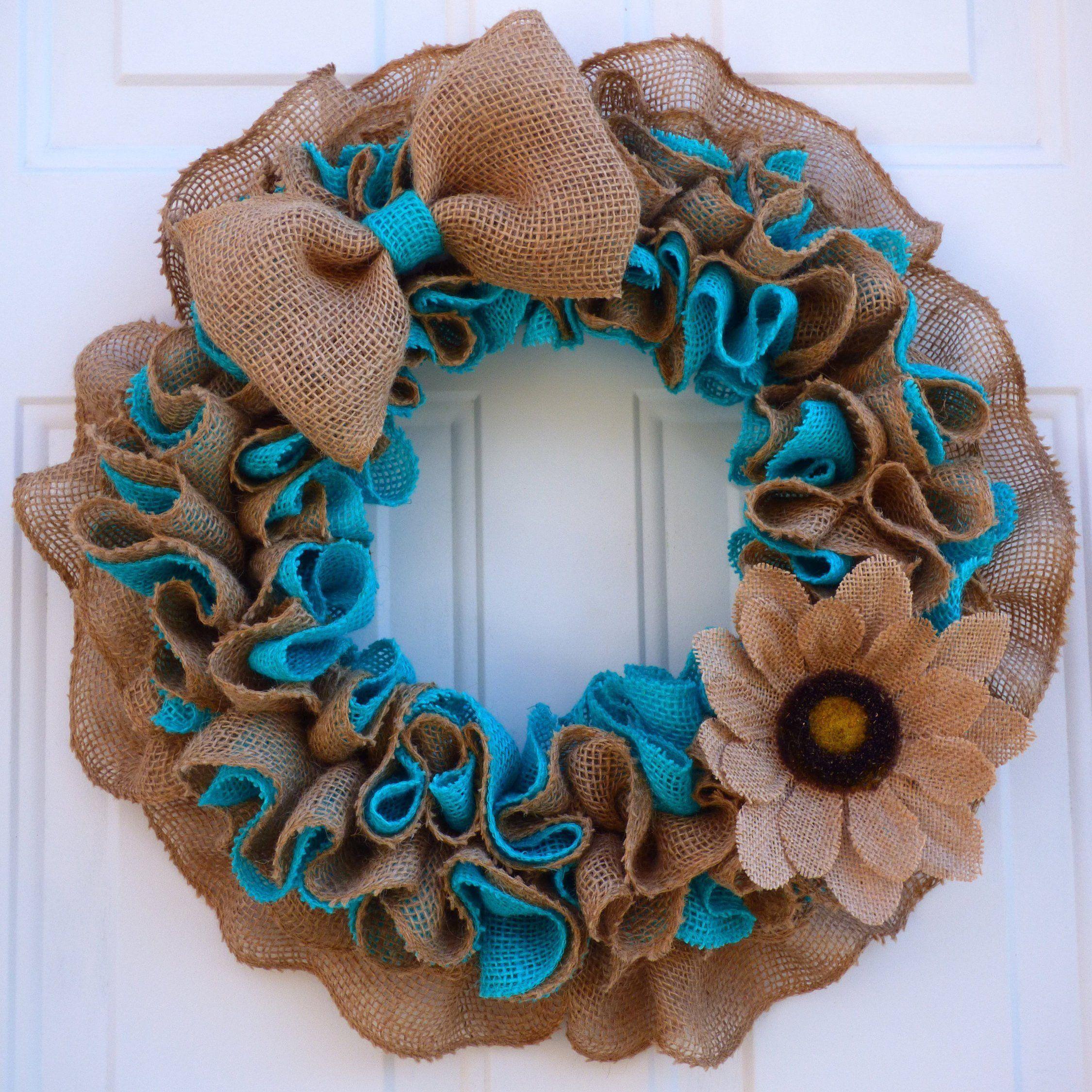 Photo of Spring Wreaths for Front Door/Summer Burlap Wreath/Spring Burlap Wreath/Farmhouse Door Wreath/Front Porch Wreath/Blue Burlap Wreath