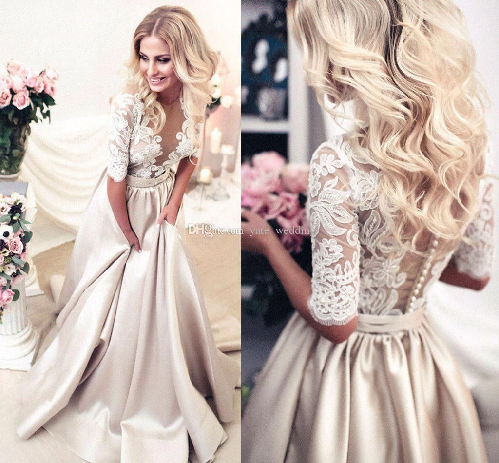 newest champagne wedding dresses sheer neck half sleeves