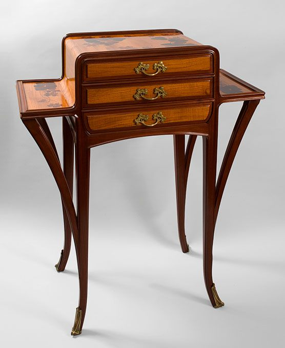 cultured mini commode in the art nouveau style with a variety of woods used as the body face. Black Bedroom Furniture Sets. Home Design Ideas