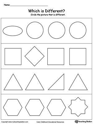 Identify Which Shape Is Different Shapes Worksheets Shapes Worksheet Kindergarten Shape Sort