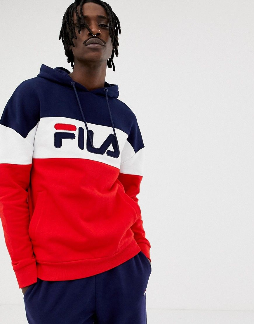 20b225d928 FILA BLACK LINE RAYTON PANEL HOODIE IN RED - RED. #fila #cloth | t ...
