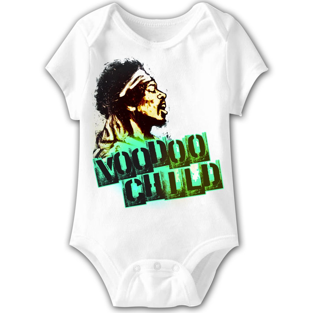 c786a57ff This Jimi Hendrix baby one piece features a drawn image of Hendrix with his  song title, Voodoo Child, written underneath. Made from 100% cotton, ...