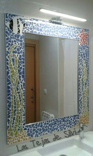 Espejo de ba o decorado con azulejos de 1 m x 0 90 cm for Espejos para banos con guardas
