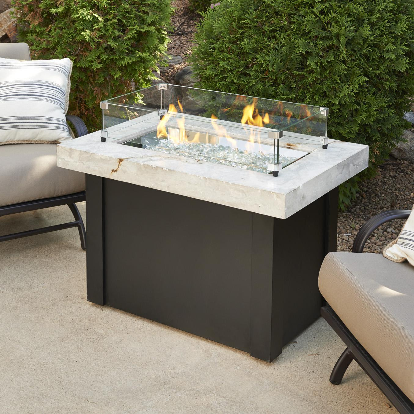 The Outdoor Greatroom Company Providence 32 Inch Rectangular Natural Gas Fire Pit Table With 24 Inch Crystal Fire Burner White Ships As Propane With Convers Fire Pit Table Fire Pit Table