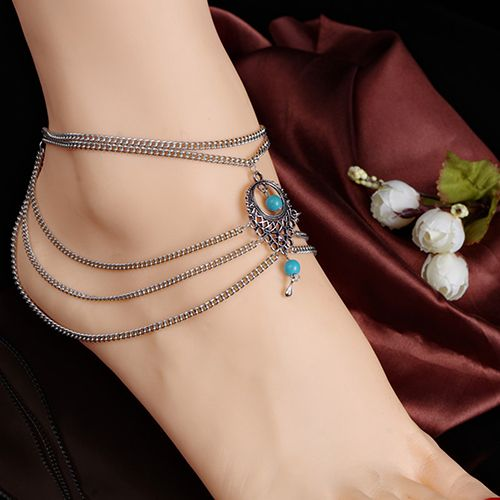 Foot Jewelry Girls Bead Chain Anklet Ankle Bracelet Tibetan Silver Foot Chains