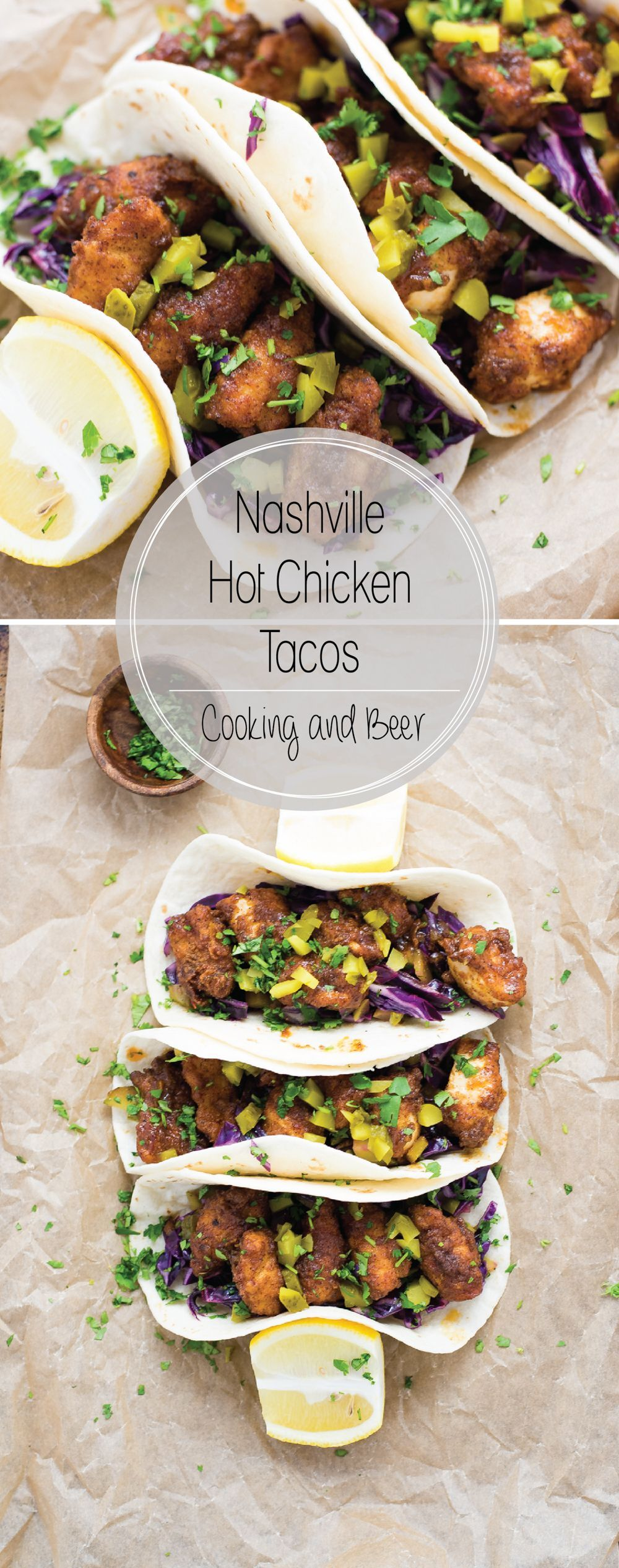 Hot Chicken Tacos with Dill Pickle Slaw Nashville Hot Chicken Tacos with Dill Pickle Slaw are a fun twist on traditional Nashville Hot Chicken: a spicy, fried chicken dish!Nashville Hot Chicken Tacos with Dill Pickle Slaw are a fun twist on traditional Nashville Hot Chicken: a spicy, fried chicken dish!