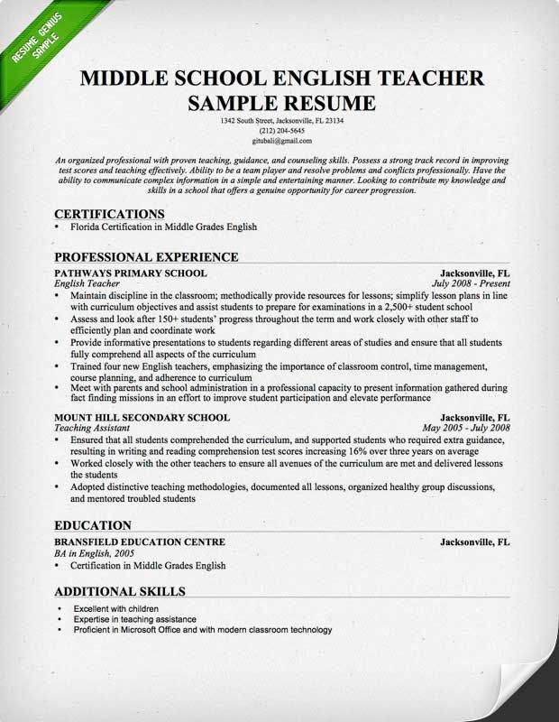 Middle School English Teacher Resume Sample Rezyume Pinterest