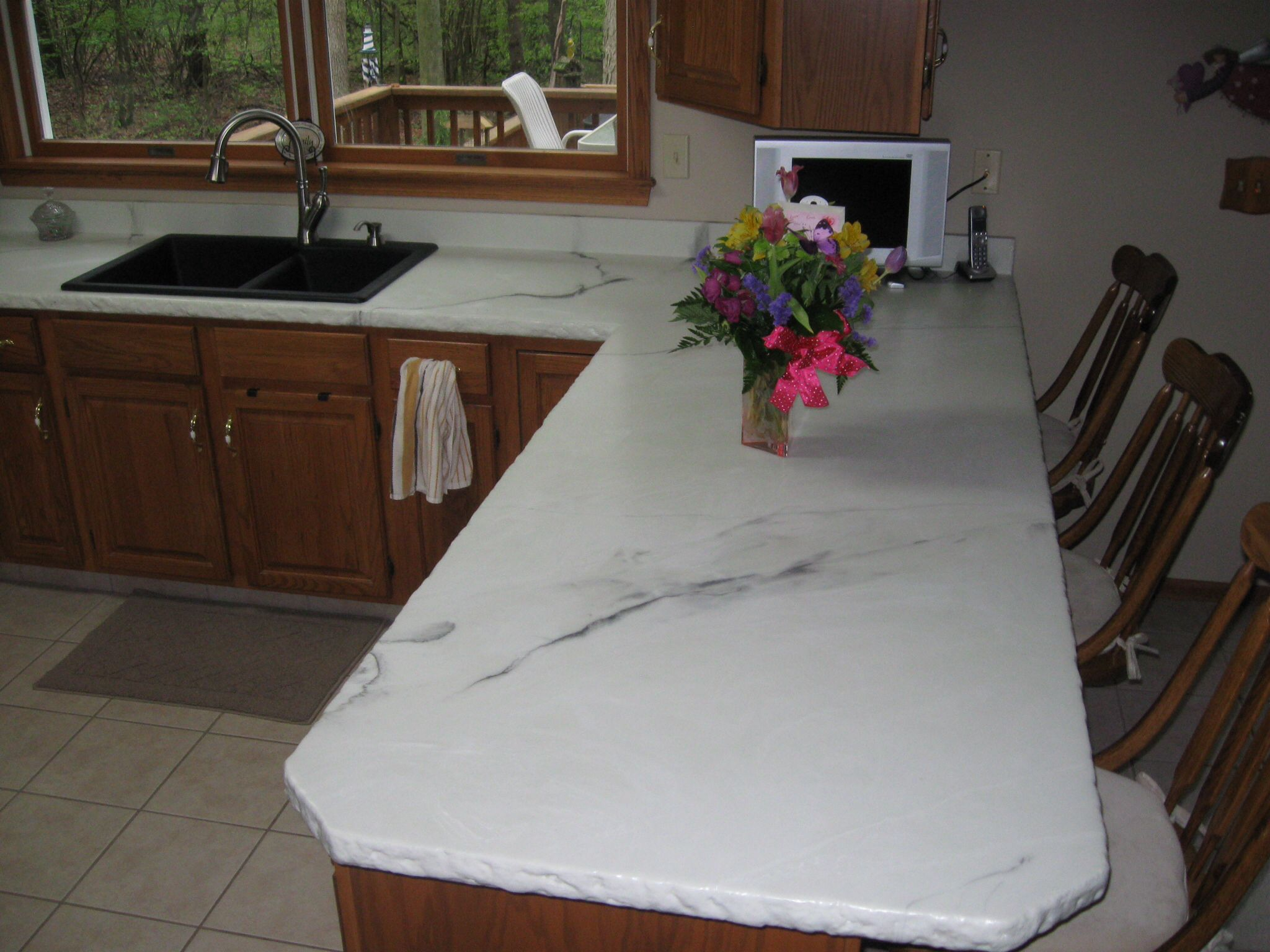 Concrete Overlay Countertops Diy Concrete Overlay Over Old Blue Formica Looks Like White Marble No